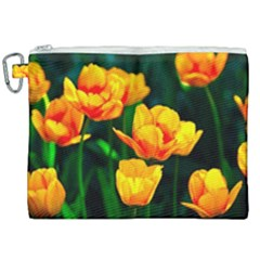 Yellow Orange Tulip Flowers Canvas Cosmetic Bag (xxl) by FunnyCow