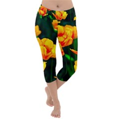 Yellow Orange Tulip Flowers Lightweight Velour Capri Yoga Leggings by FunnyCow