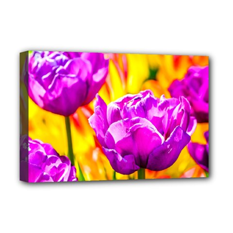 Violet Tulip Flowers Deluxe Canvas 18  X 12  (stretched) by FunnyCow