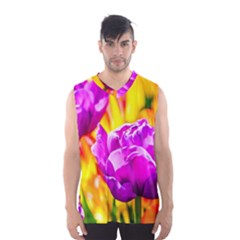 Violet Tulip Flowers Men s Basketball Tank Top