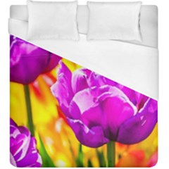 Violet Tulip Flowers Duvet Cover (king Size) by FunnyCow