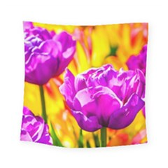 Violet Tulip Flowers Square Tapestry (small)