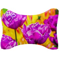 Violet Tulip Flowers Seat Head Rest Cushion by FunnyCow