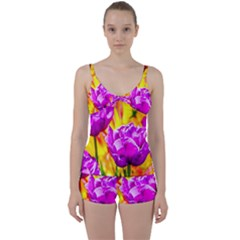 Violet Tulip Flowers Tie Front Two Piece Tankini