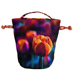 Red Tulips Drawstring Bucket Bag by FunnyCow