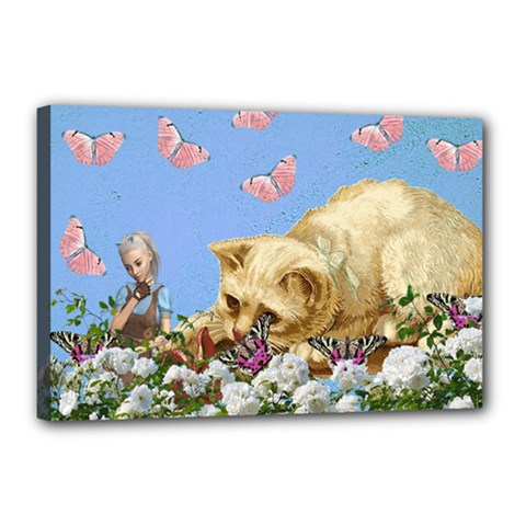 Cat And Butterflies Canvas 18  X 12  (stretched) by snowwhitegirl