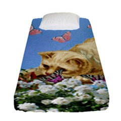 Cat And Butterflies Fitted Sheet (single Size)