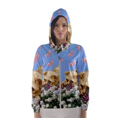 Cat And Butterflies Hooded Windbreaker (women)