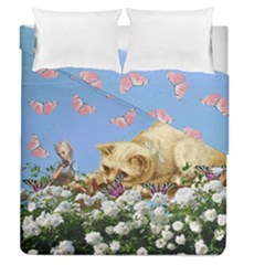 Cat And Butterflies Duvet Cover Double Side (queen Size) by snowwhitegirl