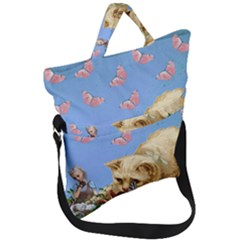 Cat And Butterflies Fold Over Handle Tote Bag