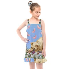Cat And Butterflies Kids  Overall Dress
