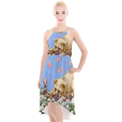 Cat And Butterflies High Low Halter Chiffon Dress