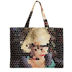 Stained Glass Girl Zipper Medium Tote Bag