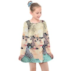 Stained Glass Girl Kids  Long Sleeve Dress