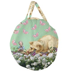 Cat And Butterflies Green Giant Round Zipper Tote by snowwhitegirl