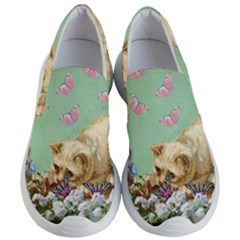 Cat And Butterflies Green Women s Lightweight Slip Ons