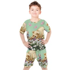 Cat And Butterflies Green Kid s Set
