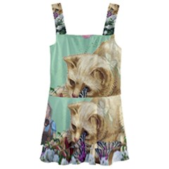 Cat And Butterflies Green Kids  Layered Skirt Swimsuit