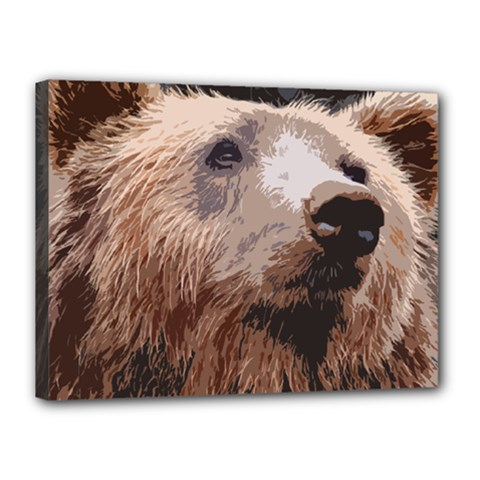 Bear Looking Canvas 16  X 12  (stretched) by snowwhitegirl
