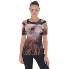 Bear Looking Shoulder Cut Out Short Sleeve Top