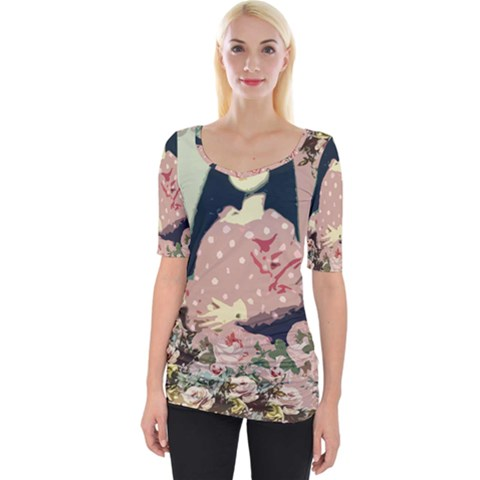 Rose Floral Doll Wide Neckline Tee by snowwhitegirl