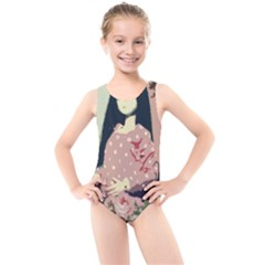 Rose Floral Doll Kids  Cut Out Back One Piece Swimsuit