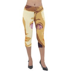 Butterfly Eyes Lightweight Velour Capri Leggings