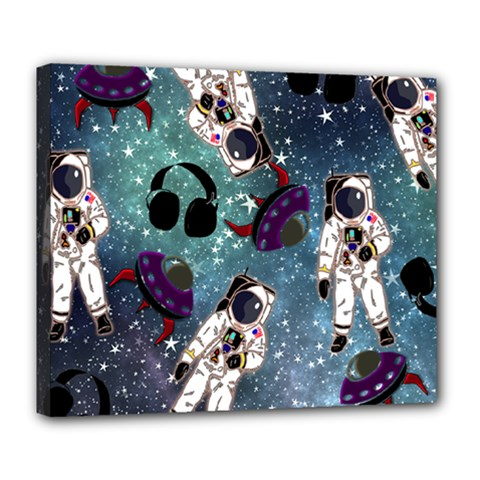 Astronaut Space Galaxy Deluxe Canvas 24  X 20  (stretched)