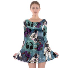 Astronaut Space Galaxy Long Sleeve Skater Dress
