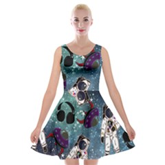 Astronaut Space Galaxy Velvet Skater Dress