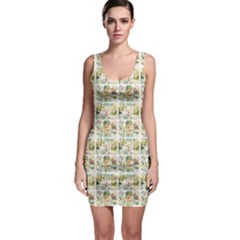 Victorian Flower Labels Bodycon Dress