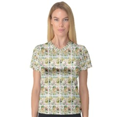 Victorian Flower Labels V Neck Sport Mesh Tee
