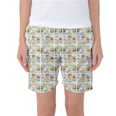 Victorian Flower Labels Women s Basketball Shorts