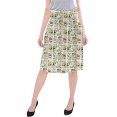 Victorian Flower Labels Midi Beach Skirt