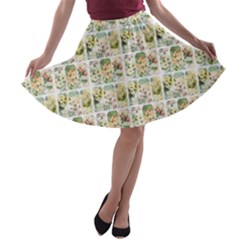 Victorian Flower Labels A Line Skater Skirt