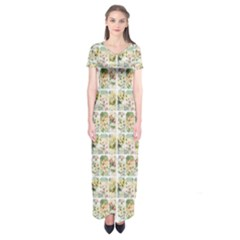 Victorian Flower Labels Short Sleeve Maxi Dress