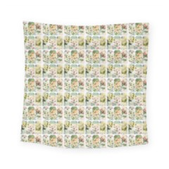 Victorian Flower Labels Square Tapestry (small) by snowwhitegirl