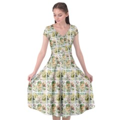 Victorian Flower Labels Cap Sleeve Wrap Front Dress