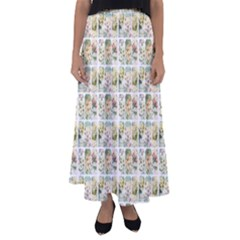 Victorian Flower Labels Flared Maxi Skirt