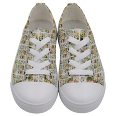 Victorian Flower Labels Kids  Low Top Canvas Sneakers