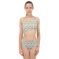 Victorian Flower Labels Spliced Up Two Piece Swimsuit