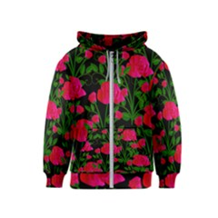Roses At Night Kids  Zipper Hoodie