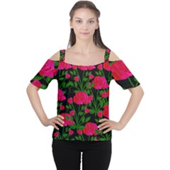 Roses At Night Cutout Shoulder Tee