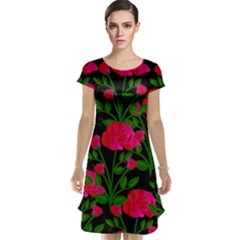 Roses At Night Cap Sleeve Nightdress