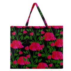 Roses At Night Zipper Large Tote Bag