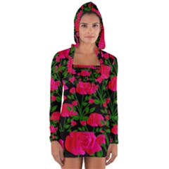 Roses At Night Long Sleeve Hooded T Shirt
