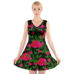 Roses At Night V Neck Sleeveless Dress