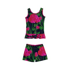 Roses At Night Kid s Boyleg Swimsuit