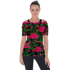 Roses At Night Shoulder Cut Out Short Sleeve Top