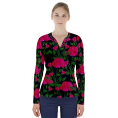 Roses At Night V Neck Long Sleeve Top